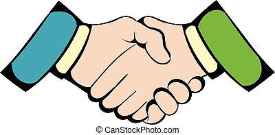Handshake icon, icon cartoon