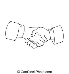 Handshake icon in outline style isolated on white background. Conference and negetiations symbol stock bitmap, rastr illustration.