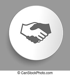 Handshake icon in sticker. Vector
