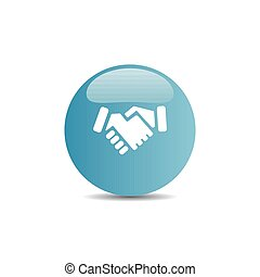 Handshake icon on a blue button