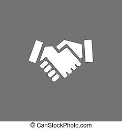 Handshake icon on a dark background