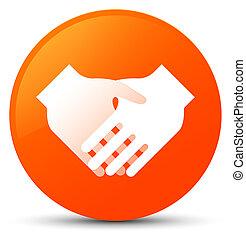Handshake icon orange round button