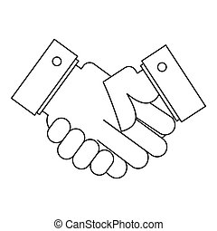 Handshake icon, outline style.
