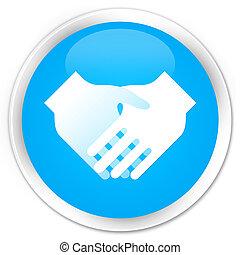 Handshake icon premium cyan blue round button