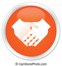 Handshake icon premium orange round button
