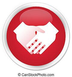 Handshake icon premium red round button