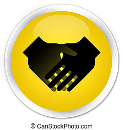 Handshake icon premium yellow round button