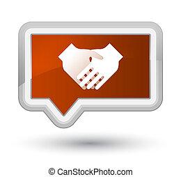 Handshake icon prime brown banner button