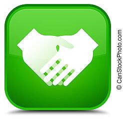 Handshake icon special green square button