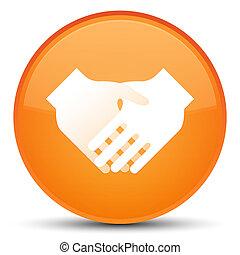 Handshake icon special orange round button