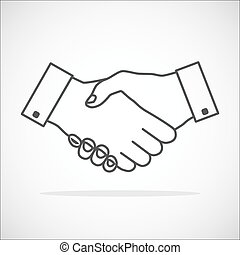 Handshake icon thin gray outline without fill - transparent. Hand gesture used as a greeting. In business used for the deal or agreement to become binding.