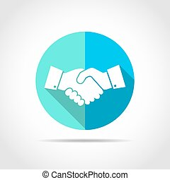 Handshake icon. Vector illustration. - White handshake in...