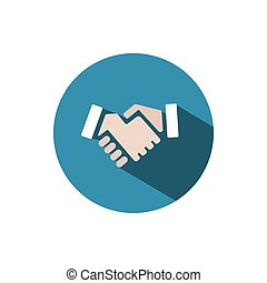 Handshake icon with shadow on a blue circle
