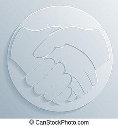 handshake, ikona, vektor