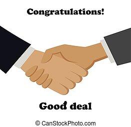 Handshake in flat design . good deal