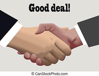 Handshake in realistic design . good deal