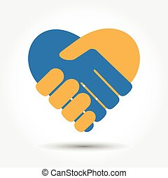 Handshake in the form of heart on a white background with a...