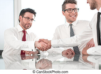 handshake., inny, powitać, pracownicy, każdy