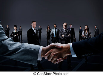 handshake isolated on business background .