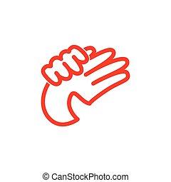 handshake line art logo icon vector