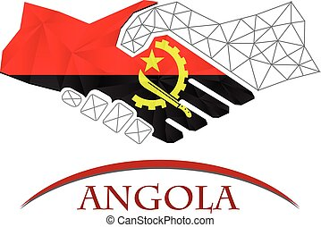 Handshake logo made from the flag of Angola.