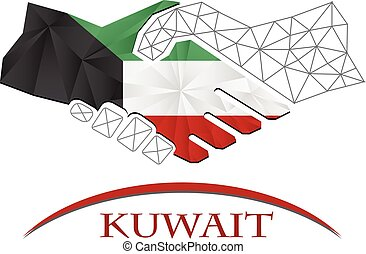Handshake logo made from the flag of Kuwait.