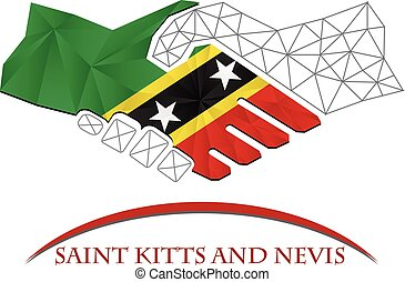 Handshake logo made from the flag of Saint Kitts and Nevis.