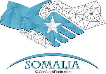 Handshake logo made from the flag of Somalia.