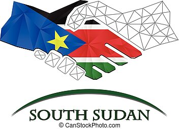Handshake logo made from the flag of South Sudan.