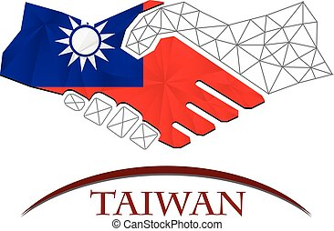 Greetings from taiwan card with some soft highlights handshake logo made from the flag of taiwan m4hsunfo