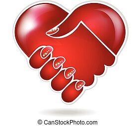 Handshake love logo