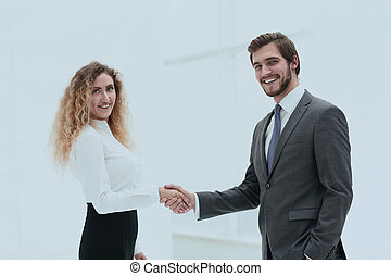 handshake Manager and client on blurred background