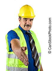 Handshake mature construction engineer - Portrait of mature...