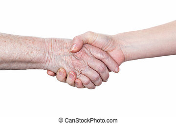 Handshake of an elderly woman and young