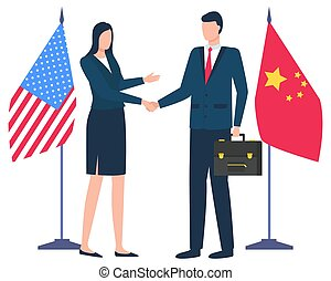 Handshake of Business Partners China and US Flags