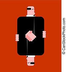 Handshake of businessman cartoon. Business handclasp. vector illustration