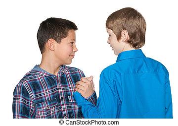 Handshake of two boys