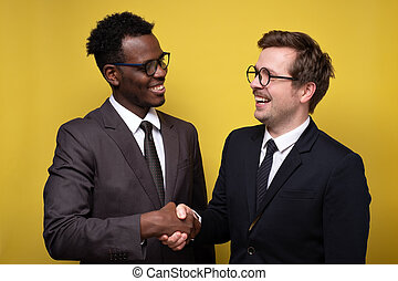 Handshake of two business people. Two men making a deal.