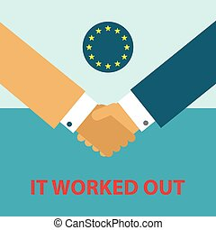 handshake of two businessmen with red title it worked out and flag of european union on the blue background - vector business picture - flat design