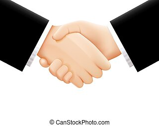 Handshake on white background. Vector illustration -...