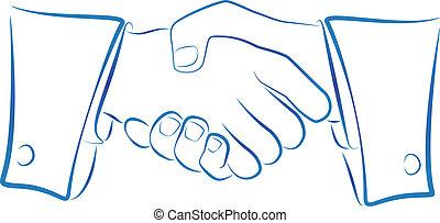 Ink blue outline illustration of a handshake.