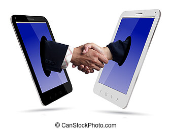 Handshake  over Smartphone on white background