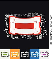 handshake paper sticker with hand drawn elements