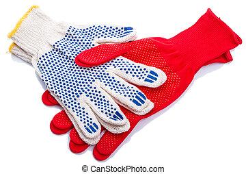 Handshake protective gloves isolated on white background