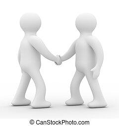 handshake., réunion, deux, businessmen., isolé, 3d, image