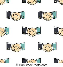 Handshake seamless pattern in cartoon style isolated on white background vector illustration