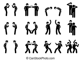 Vector stick figure of elbow bump, waving hand, bow, salute, foot tap, nameste, hand over heart, pointing finger, and hip bump.