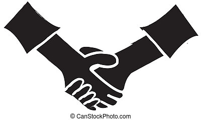 Handshake Silhouette - simple silhouette drawing of two...