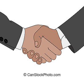 Handshake situation - Color illustration of the gesture hand...