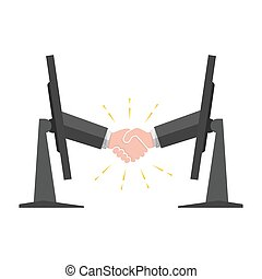 Handshake sticking out from a monitor. Vector illustration.